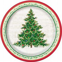 "Classic Christmas Tree 7"" Paper Plates (8)"
